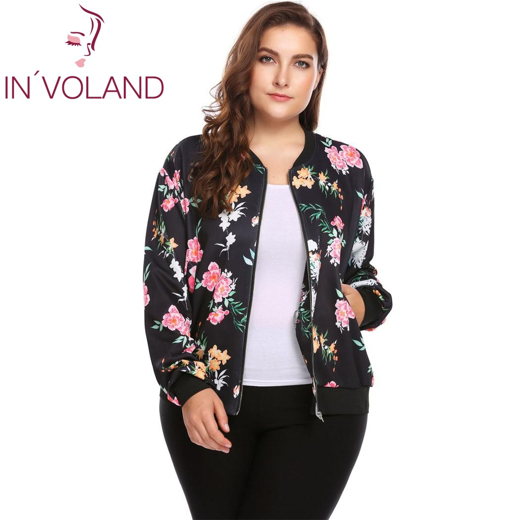 IN'VOLAND Plus Size Women Short Jacket   Coat   L-4XL Autumn Slim Turn   Down   Collar Print Large   Coat   Bomber Tops Outerwear Big Size