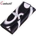 CONTACT'S Genuine Leather Wallet Women Bag Luxury Brand Female Purse Card Holder 3 Fold Printing Long Ladies Clutch Dollar Price
