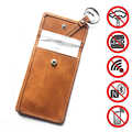 1Pc Leather WIFI/GSM/LTE/NFC/RFID Signal Blocking Keyless Entry Car Key Cover Pouch Case Bag Car Accessories