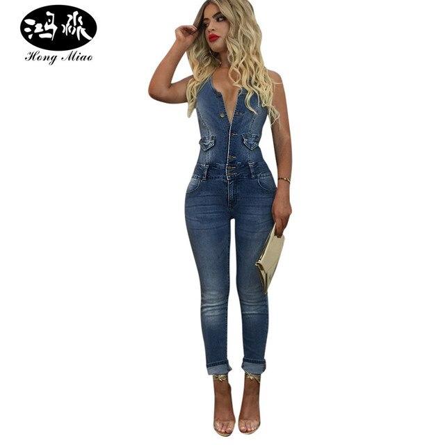 le dernier 11e36 a200b € 37.63 |Aliexpress.com: Acheter Hong MIao 2017 Casual Denim Salopette Dos  Nu Sexy Body Femmes Bouton Moulante D'été Barboteuse Jeans Salopettes ...