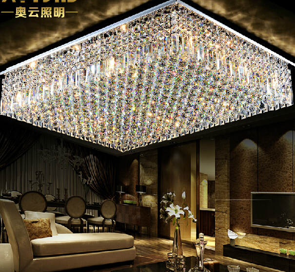 Hot Ing Flush Mount L800 W600 H200mm Square Modern Crystal Chandelier Led Lights For