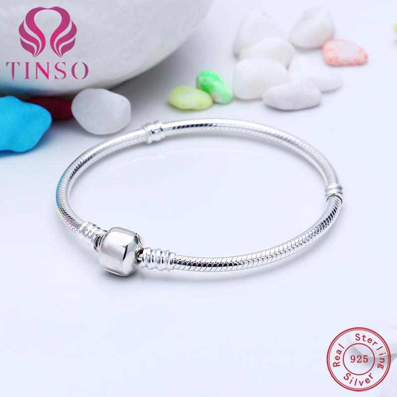 100% 925 Sterling Silver Popular Snake Chain Basic Bracelet with Logo Fit for European Charms Beads DIY Jewelry for Women Gift pandulaso pure 925 sterling silver jewelry findings sparking safety with logo beads fits charms bracelet women diy jewelry