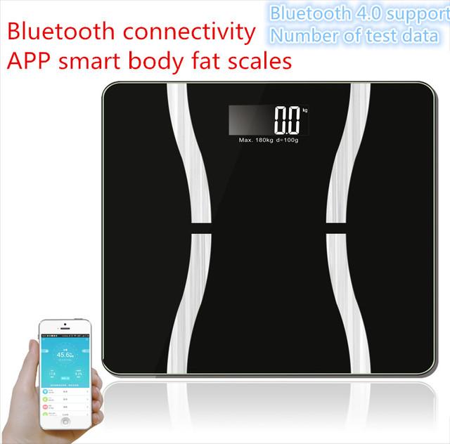 Hogar Multifunción Inteligente Soporte Bluetooth4.0 Perder Peso Escala de Salud Balanza Digital de Pesaje Electrónico Escala de Grasa Corporal