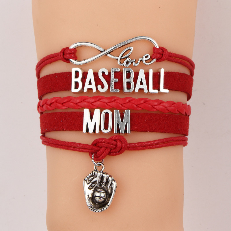 10pcs Lot Infinity Love Baseball Mom Bracelet Glove Charm Bracelets Bangles Jewelry Friendship For Women In Chain Link