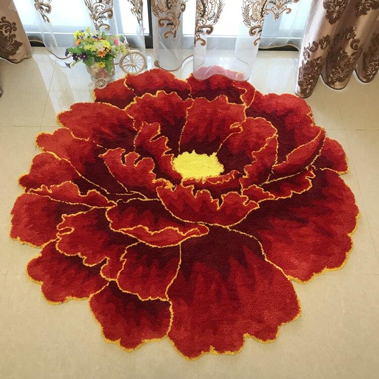 Китайский стиль красный пион цветок ковровая плотная гостиной и спальни ковер розовый цветок дверь коврики Свадебные гостиная Холл ковры