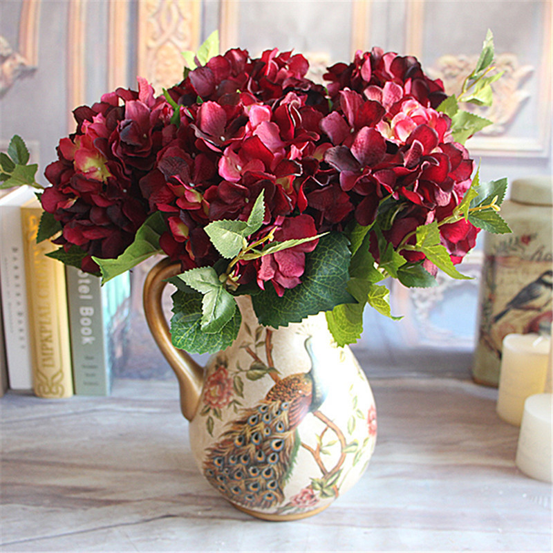 buy wine red rose floral 1 bouquet artificial peony flower arrangement room. Black Bedroom Furniture Sets. Home Design Ideas