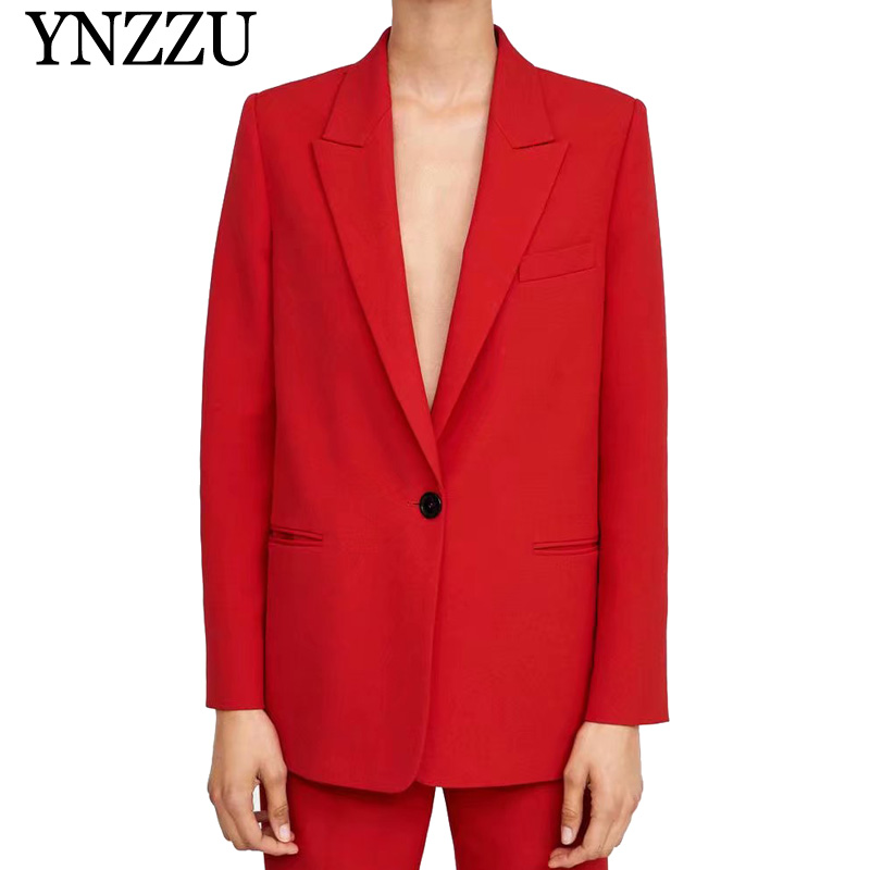 High Quality Elegant Red Women Blazers 2019 Spring Autumn Notched Collar Single Button Office Lady Workwear Suit Coat AO953