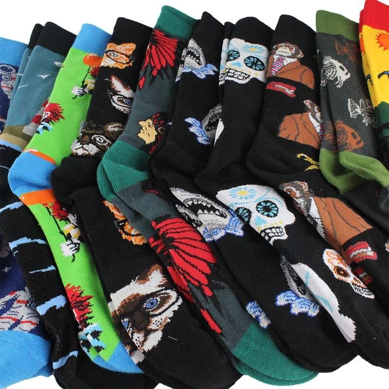 eioisapra Men's Socks combed Cotton Fashion Hip Hop Men Socks Trend Harajuku Marvel Clown Chicken Skateboard Happy Socks Funny Sokken Buy One Give One