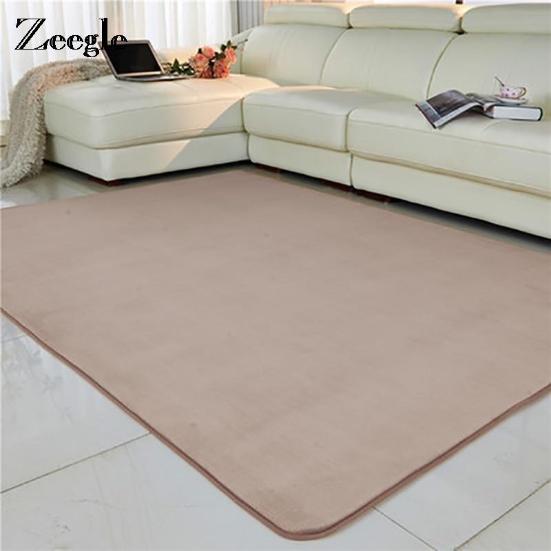 Zeegle Solid Color Coral Fleece Carpet For Living Room Kids Room Floor Mat Carpets Anti-slip Sports Mat Kids Room Area Rug