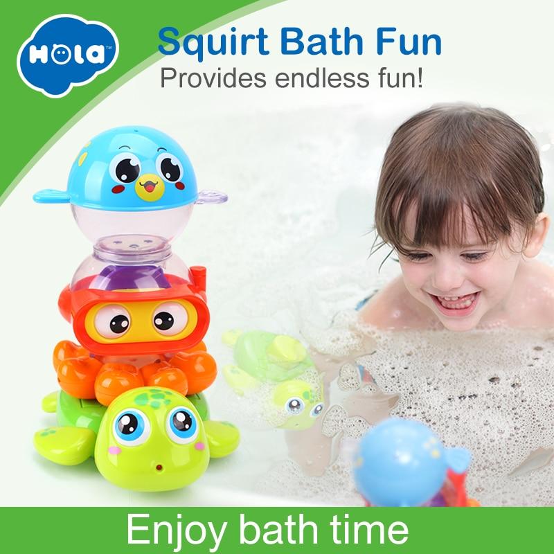 HUILE TOYS 3112 Baby Bath Toy Pool Swimming Toys Animals Stacking Game Children Kids Bathing Tub Water Spraying Tool Toy Gifts