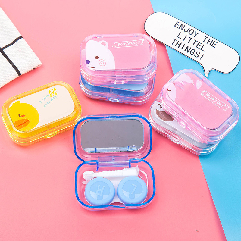 Mini Cartoon Square Plastic Contact Lens Case Easy Carry Mirror Container Holder Travel Kit Easy Carry Travel Accessories