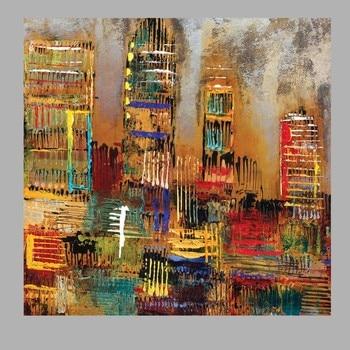 Pintado A Mano Moderno Arte De Pared Abstracto Hecho A Mano Edificio Pintura Al óleo En Lienzo Pared Arte Imagen Para Sala De Estar Oficina