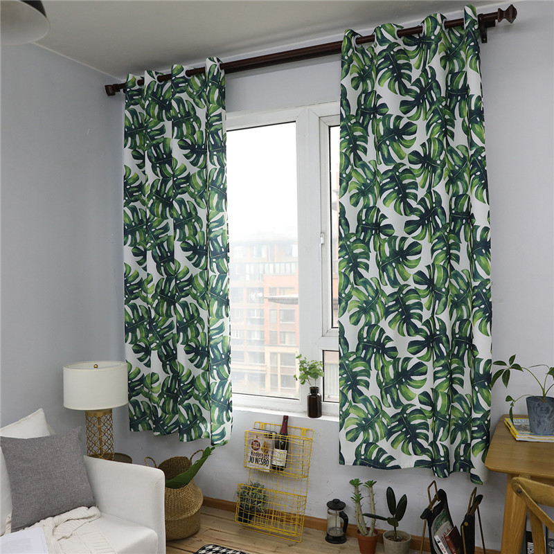 US $31.29 9% OFF|New Living Room Semi Blackout Curtain Modern European  Decor Kitchen Windows Tropical Plants Printed Bedroom Curtains Panels-in ...