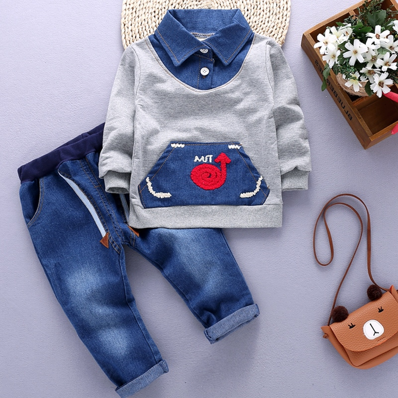 Bibicola spring autumn children clothes set 2 pcs shirt+pants suit for boys baby clothes Toddler boy casual cotton clothing set fashion baby girl t shirt set cotton heart print shirt hole denim cropped trousers casual polka dot children clothing set