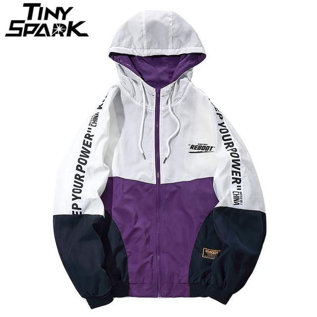 Hip Hop Mens Hooded Windbreaker Jacket Autumn 2018 Casual Vintage Color Block Loose Track Hoodie Jacket Coats Streetwear HipHop