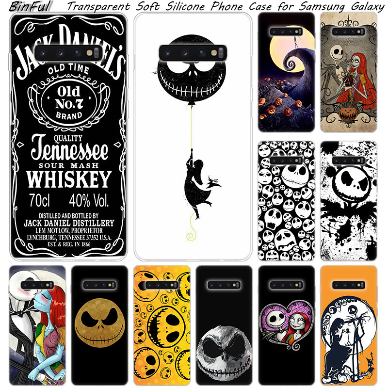 Hot jack skellington Soft Silicone <font><b>Case</b></font> For <font><b>Samsung</b></font> Galaxy S10 S9 S8 Plus S7 Edge <font><b>A6</b></font> A8 Plus A7 A9 2018 A5 <font><b>2017</b></font> Fashion Cover image