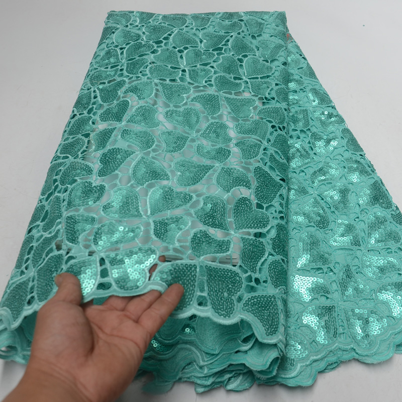 5yards pc High quality handcut African organza lace fabric in mint green with allover sequins