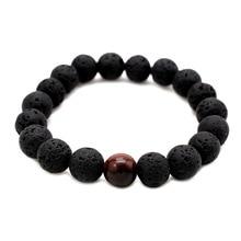 цена на Black Lava Natural Stone Beads Bracelets for Women Vintage Design Volcanic Rock Tiger Eye Bead Strand Bracelet Men Jewelry Gifts