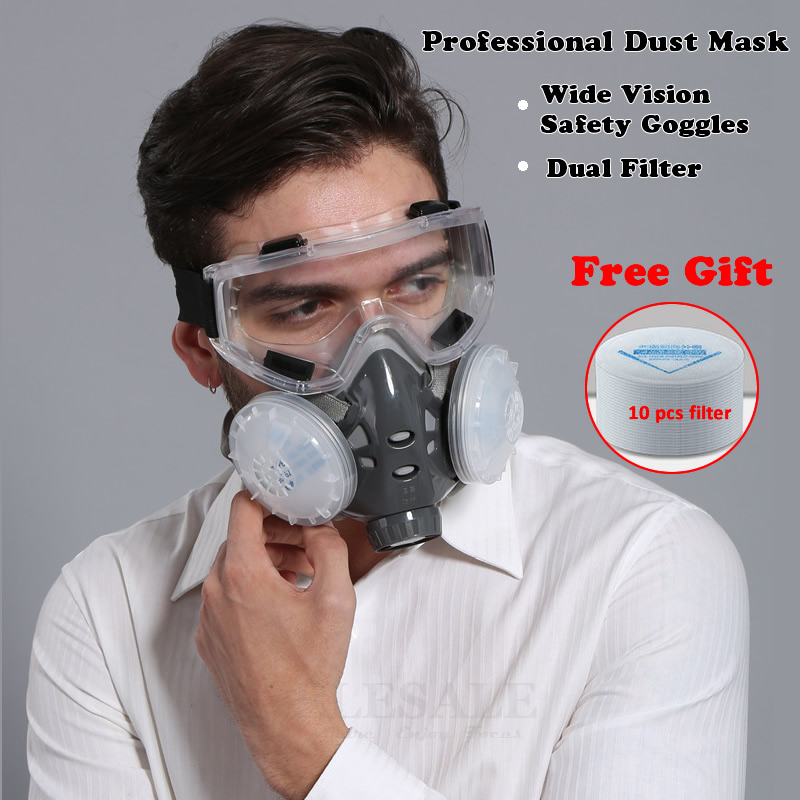 Half Face Respirator Dust Mask With Safety Glasses For Builder Carpenter Daily Haze Protection Work Safety Mask 5 Layer FliterHalf Face Respirator Dust Mask With Safety Glasses For Builder Carpenter Daily Haze Protection Work Safety Mask 5 Layer Fliter