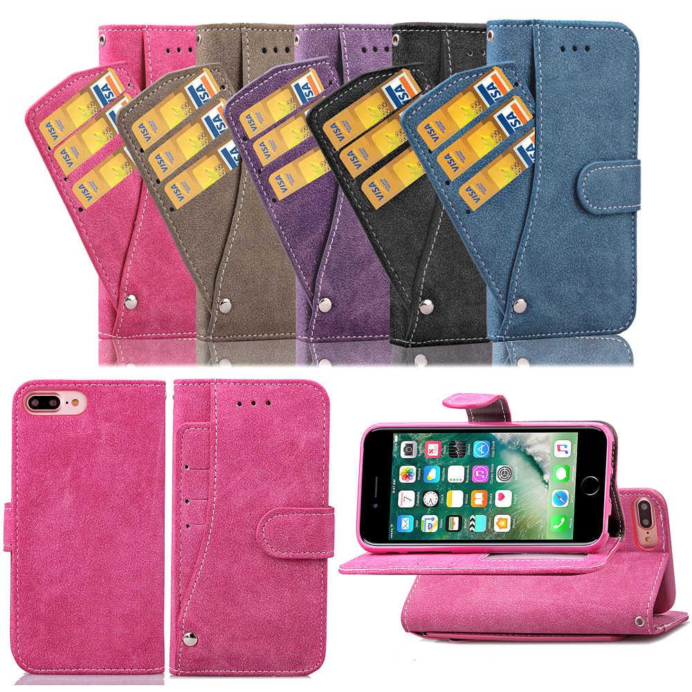 טלפון מקרה טלפון מחזיק מט Flip מקרה פגז טלפון עם כרטיס כיס עבור iphone 6 iphone X iphone 8 עם 5 צבע אפשרויות