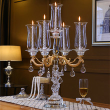 Menorah Candle Holder Glass 5 Metal Arms  Hurricane Wedding Centerpieces for Tables Candelabra with Hanging Crystal Drops