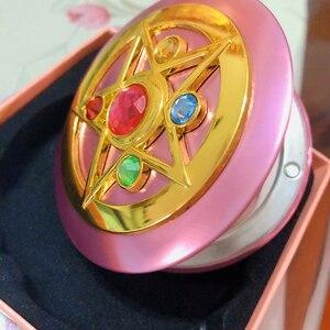 Image 2 - Sailor Moon Crystal Pink Metal Compact Mirror Case Moonlight Memory Series Women Girls Cosplay Cosmetic Make up Mirror + Box