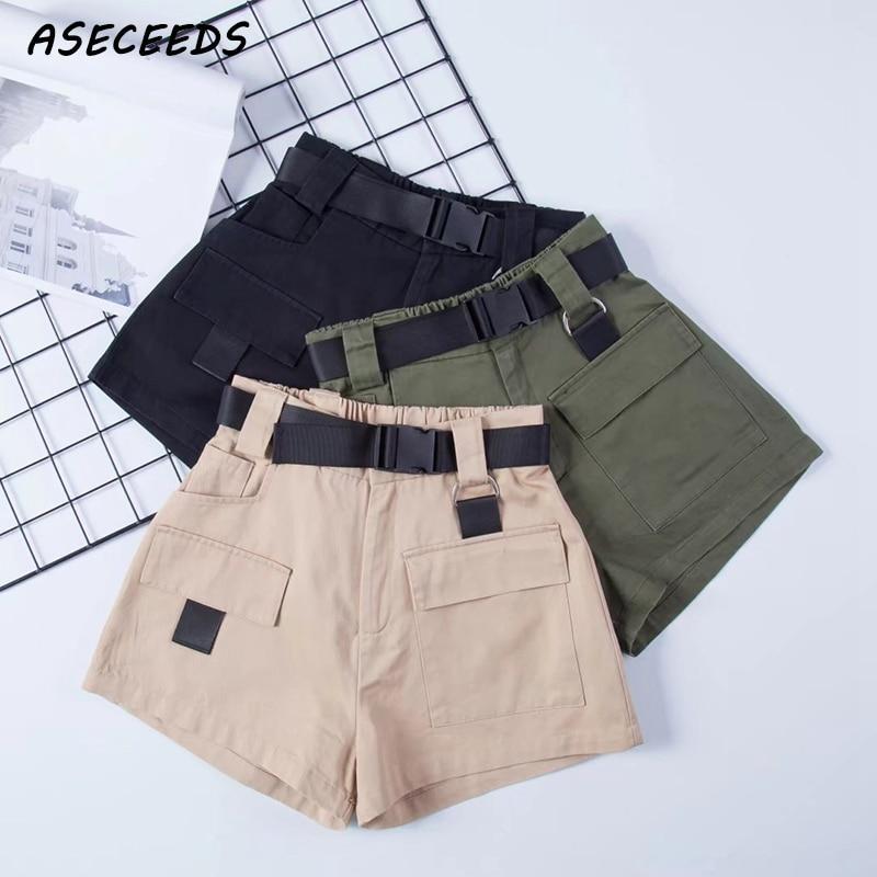 2019 Elastic high waist shorts for women black summer belt shorts vintage sexy cotton biker pocket shorts feminino plus size