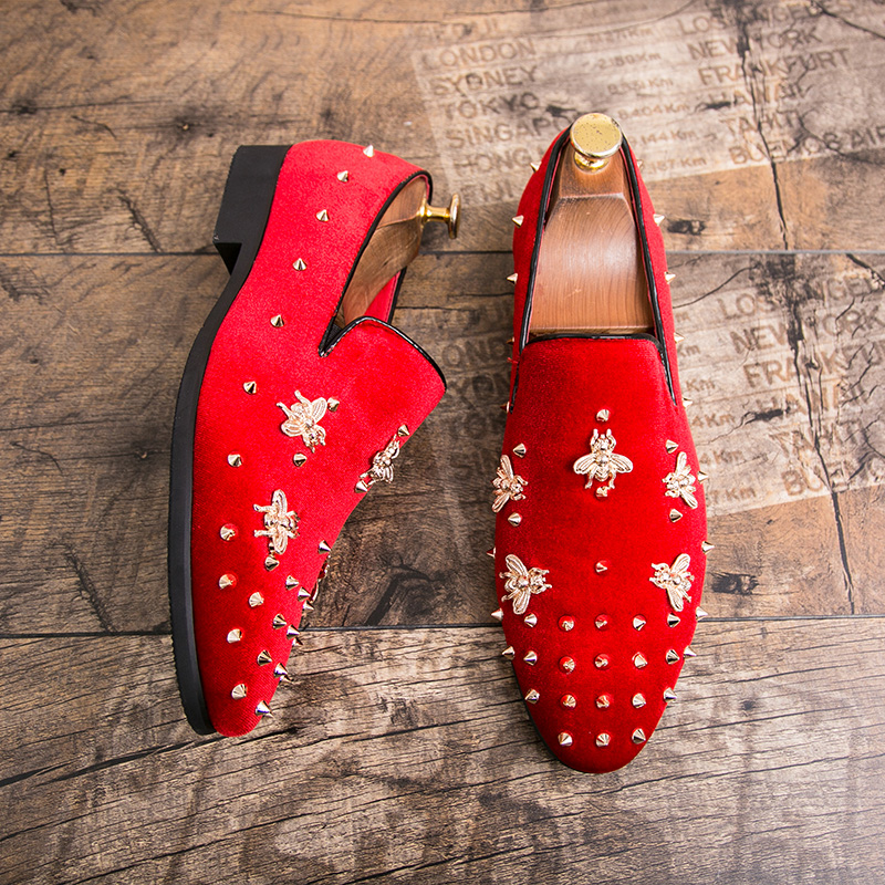 HTB1ezs7JSzqK1RjSZFpq6ykSXXaM New Fashion Gold Top and Metal Toe Men Velvet Dress shoes Italian men's dress shoes Handmade Loafers