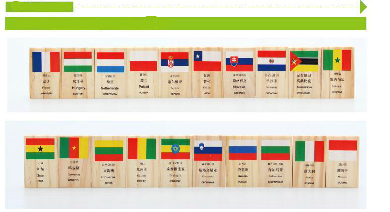 Free shipping Wood 100PCS national flag Dominoes child baby Block domino toy Four languages English Chinese Korean Russian Block in Blocks from Toys Hobbies