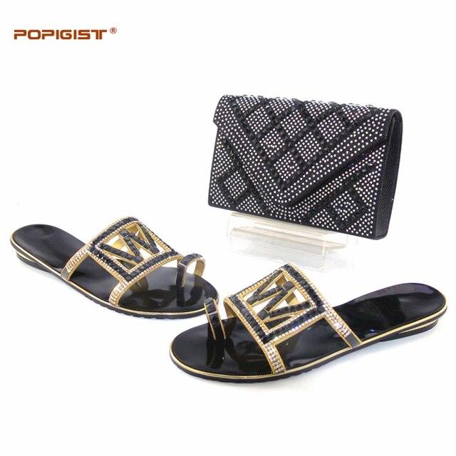 Sapatos Italianos e saco conjunto de correspondência de cor preta da Festa de Casamento sapatos frete grátis Mulheres saco com Chinelos flip flops Africano sapatos