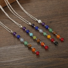 Pop Creative Rainbow Natural Stone Chakra Rock Necklace Yoga Power Pendant Nice Gift For Lover Friends Women Jewelry