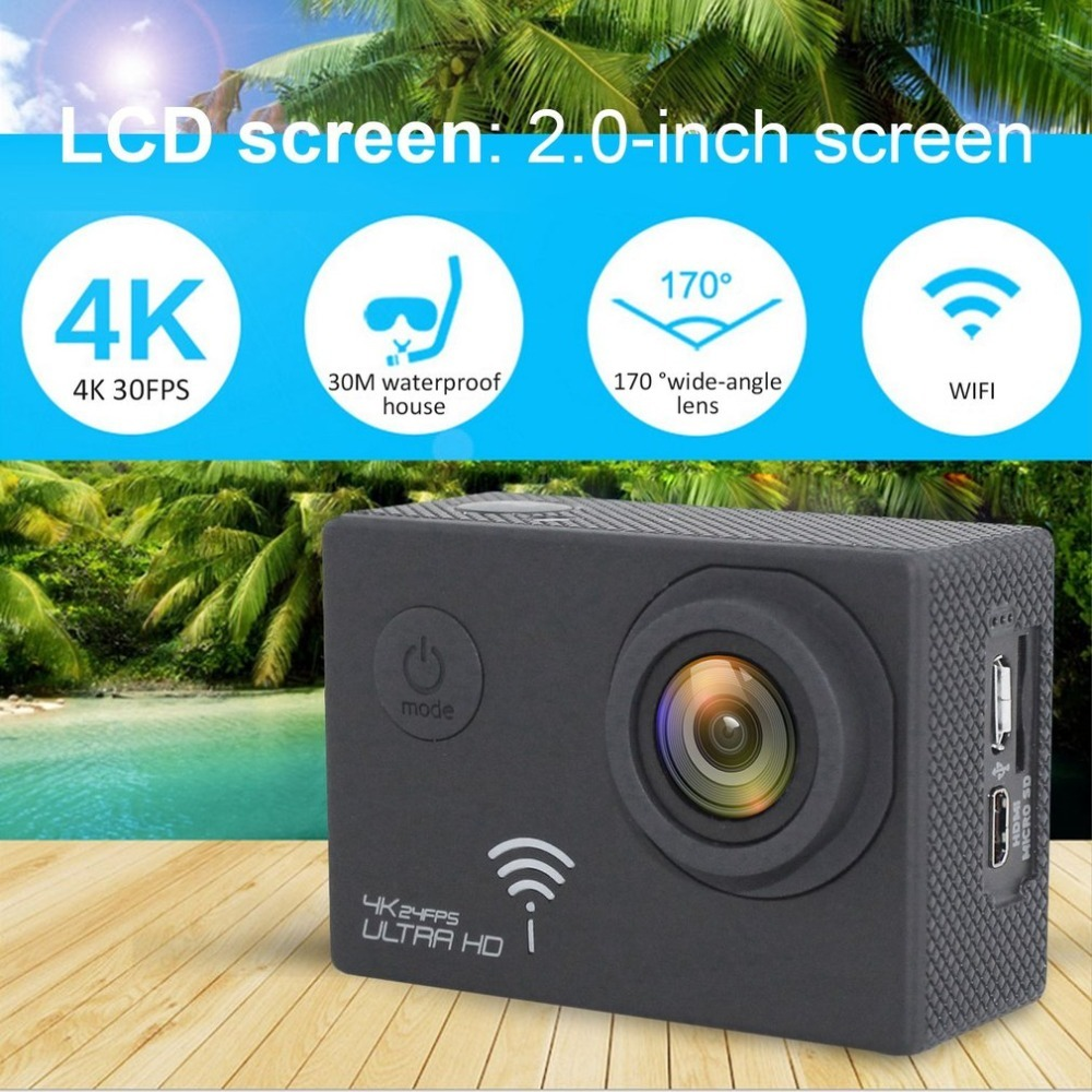 Ultra HD 4K Waterproof WIFI Sport Camera 2.0 Inch Screen 170 Degree Wide Angle Action Camera 1600MP 30M Under Water Cam