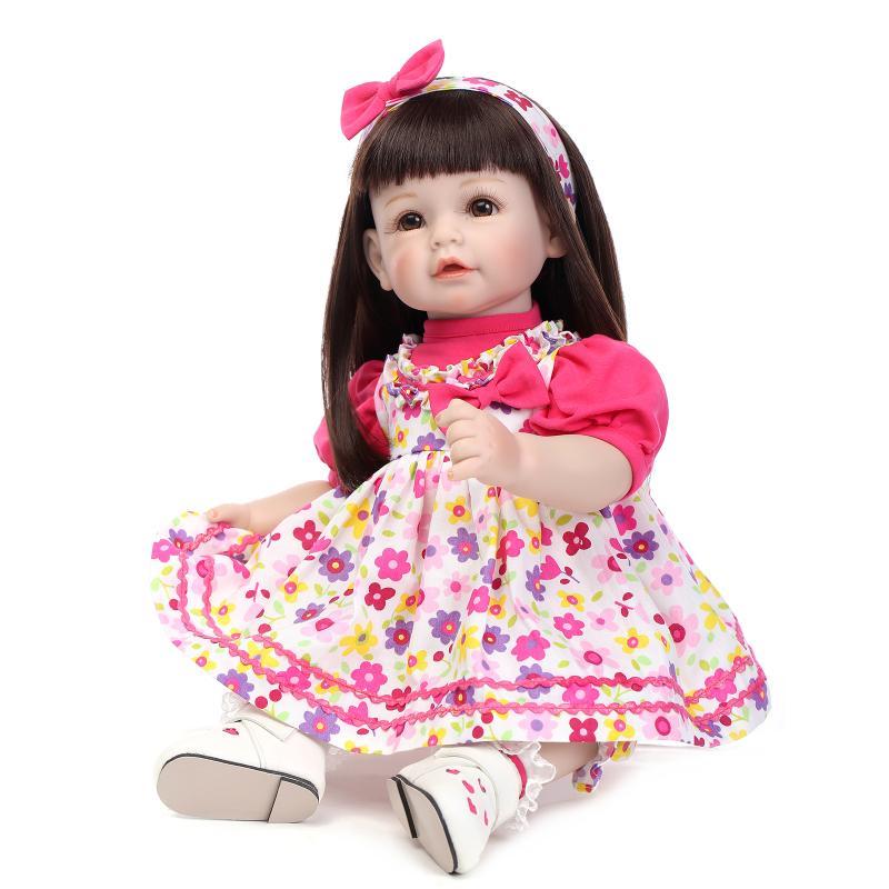 NPK 52cm silicone reborn baby dolls brown long hair girls princess doll poupee bonecas baby alive children gift 52cm 21inch npk brand kawaii reborn baby dolls made by 100