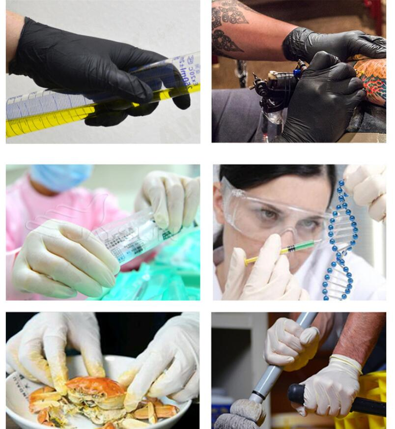 50 to100PCS Disposable Latex Gloves Latex And Anti Bacterial Medical Gloves for Virus and Flu Protection 15