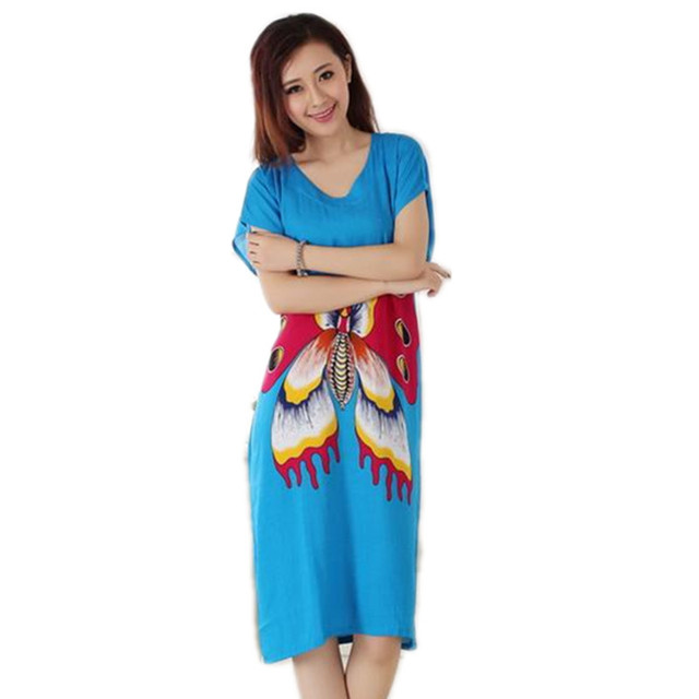 New Arrival Lake Blue Butterfly Summer Short Sleeve Lady's Cotton Nightgown Chinese Style Robe Bath Gown Sleepwear One Size T073