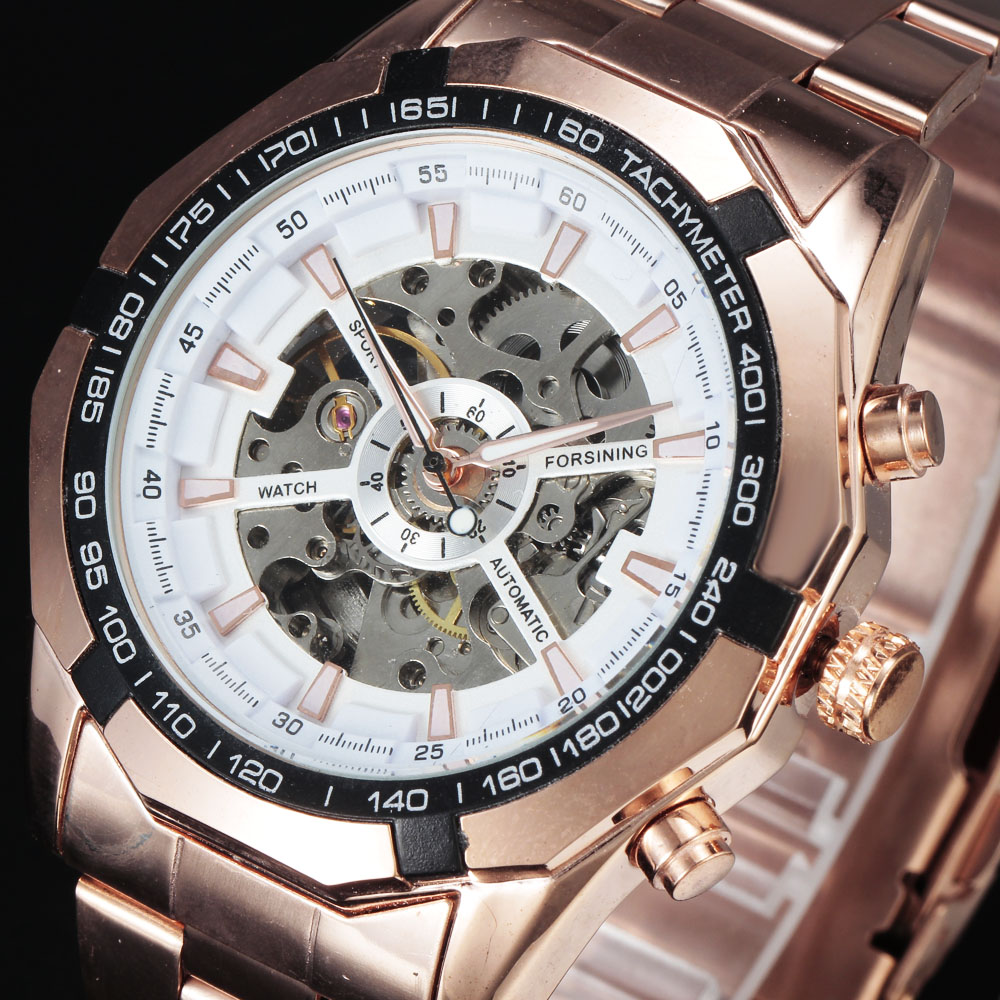 FORSINING Steampunk Automatic Luxury Watches Men Dodecagon Tachymeter Case Skeleton Dial Steel Band Mechanical Rose Gold Watch forsining 2016 popular brand men watches simple automatic mechanical watch skeleton white dials gold case stainless steel band
