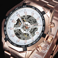 FORSINING Steampunk Automatic Luxury Watches Men Dodecagon Tachymeter Case Skeleton Dial Steel Band Mechanical Rose Gold Watch