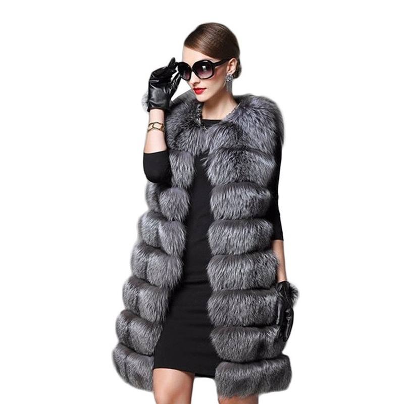 Lisa Colly Frauen Import Mantel Faux Fuchs Mantel Jacke Frauen Herbst Winter Slims Super Lange Gefälschte Pelz Westen Pelzigen Weste 8 farben