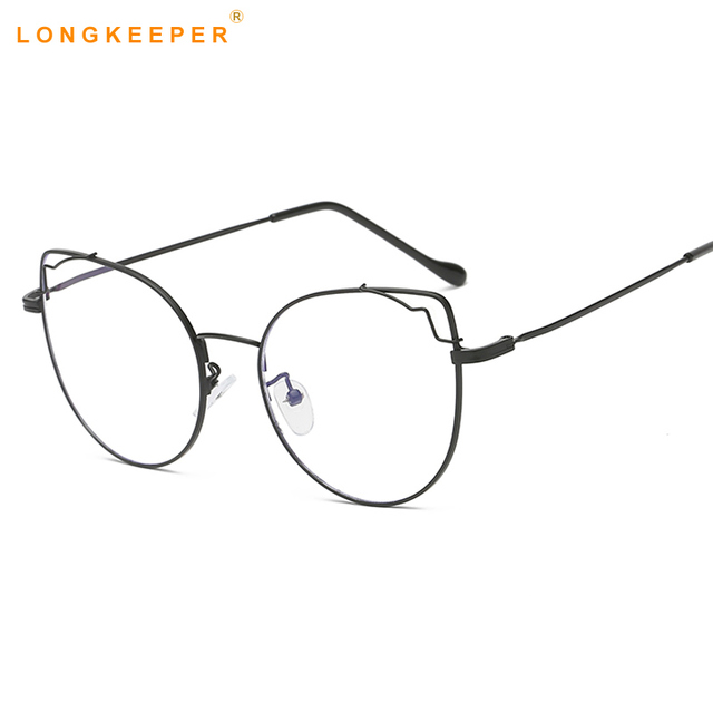 8b86364187d3b Fashion Metal Eyeglasses frame For Women Men Cat Eye Brand Clear Lens  Glasses Vintage Oversized Oculos De Sol Feminino gafas