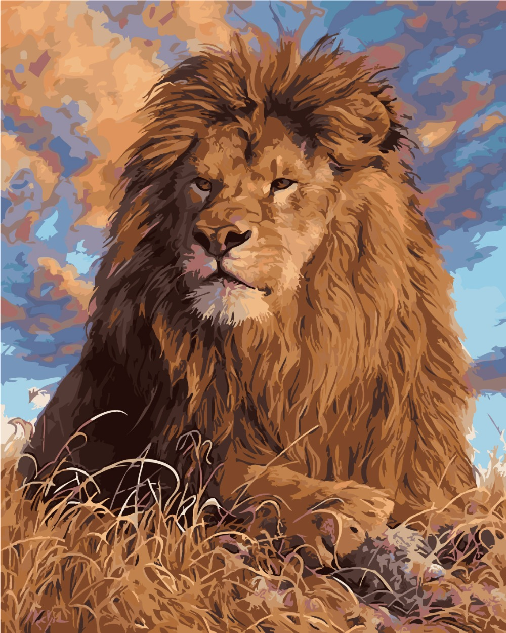 diy canvas art for living room modern luxury decor frameless prairie lion king coloring oil painting by ...