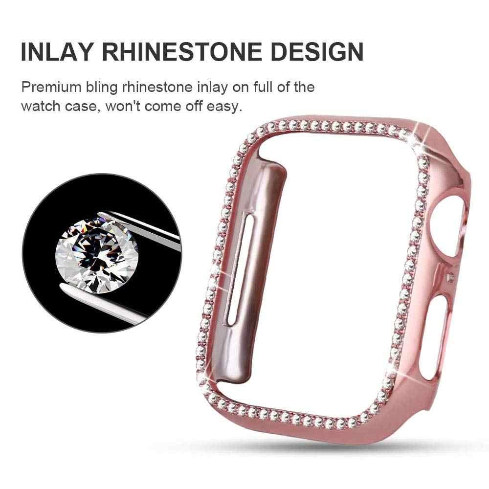 الماس حالة ل apple watch سلسلة 4 5 40 مللي متر/44 مللي متر iWatch شاشة واقية غطاء PC ووتش حالة ل apple watch حالة 38 مللي متر/42 مللي متر