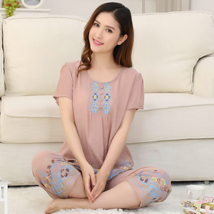 Image 4 - Pyjama dété pour femme, 4XL, ensemble mince, manches courtes, Ventilation pour la maison