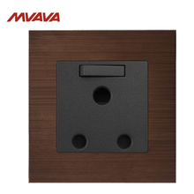 MVAVA 15A Wall Decorative Switched Receptacle 3 Round Pin Socket With 1 Gang Luxury Brown Aluminium Brushed Plug Free Shipping uk double 1 gang 3 pin 15a socket 2017 hot sale china manufacturer wallpad luxury wall outlet