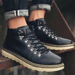 Cunhas botas outono sapatos masculinos sapatos botas de moto ankle boots rebite de couro do homem 2019 new arrival homens moda martin bota sapatos