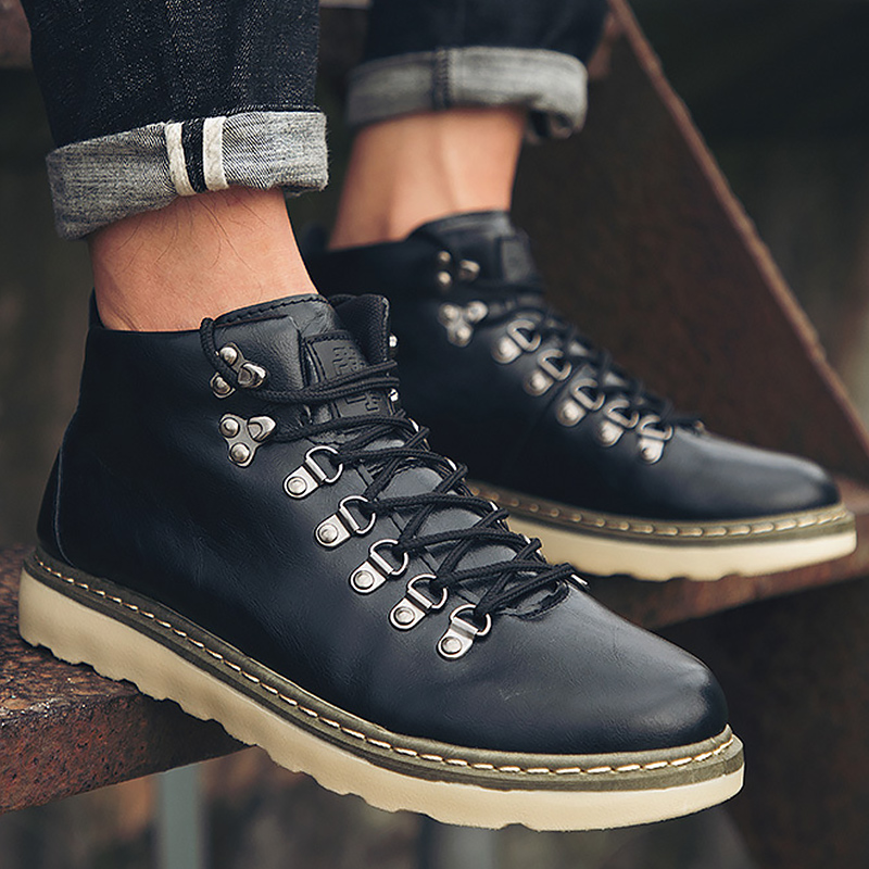 Wedges Boots Autumn Shoes Male Moto Ankle Boots Leather Rivet Man's Boots 2019 New Arrival Martin Boot Men Fashion Shoes