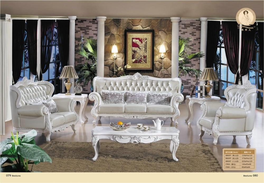 Sēdekļu sekciju dīvānu istaba Jaunas ierašanās Eiropas stila antīkās nianses no oriģinālās ādas, tiešās rūpnīcas muebles, luksusa franču dīvānu komplekts
