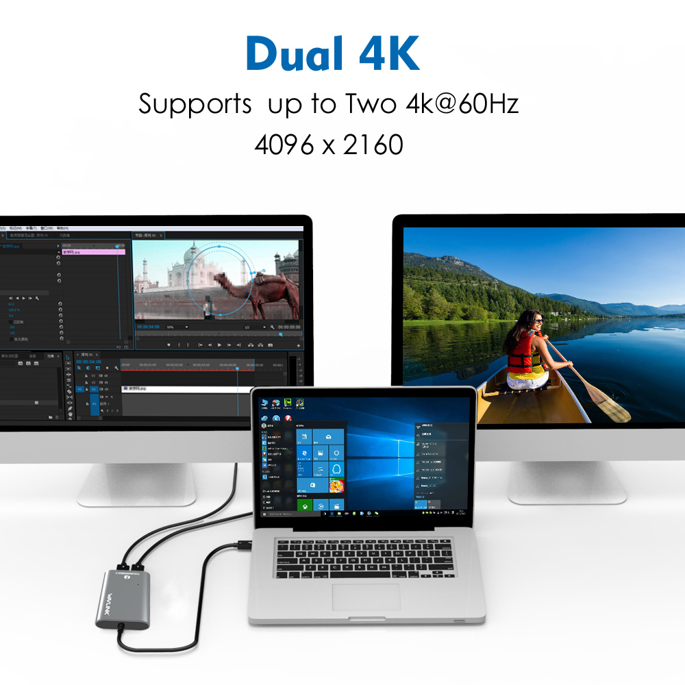 Image 5 - Wavlink Thunderbolt 3 adapter  Dual DisplayPort 8K Adapter USB C Hub 4K&5K@60Hz Type c Splitter video display for Window Macbook-in USB Hubs from Computer & Office