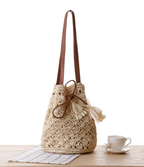 mylb Straw Hand-made Tassel bucket bag Fashion Female Crossbody Bags S messager bags woven Shoulder Bag Beach on holiday