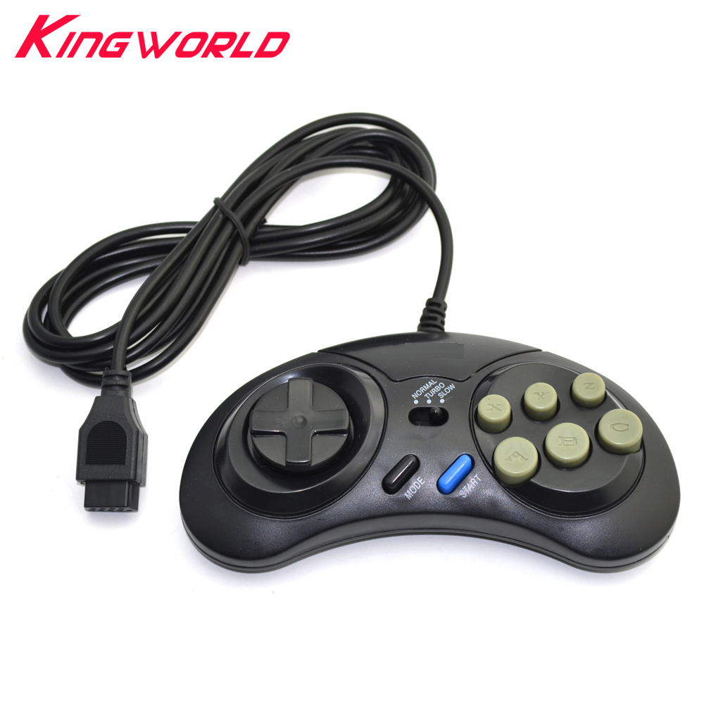 16 bitars Classic Wired Game Controller för SEGA Genesis 6 Button Gamepad för SEGA Mega Drive Mode Snabbt Slow