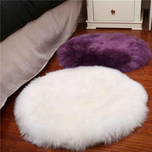 Многоцветные лохматые чехлы для стульев круглые плюшевые искусственные шерстяные коврики коврик для ковров украшение дома